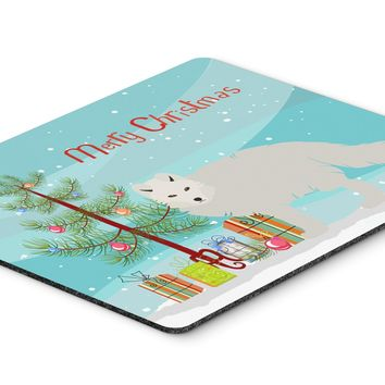 White Arctic Fox Christmas Mouse Pad, Hot Pad or Trivet BB9244MP
