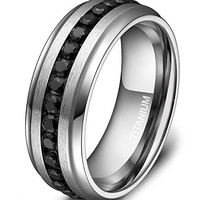 7mm Titanium Eternity Ring Channel Set Black CZ Wedding Band for Men Women Size 6 to 13
