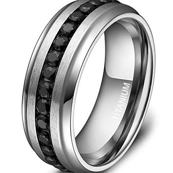 7mm Titanium Eternity Ring Channel Set Black CZ Wedding Band