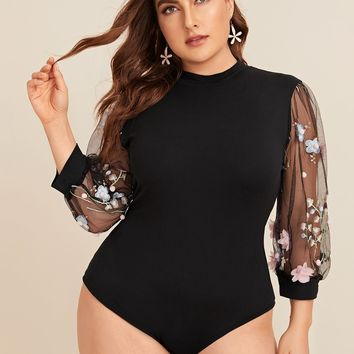 Plus Size Size Contrast Mesh Floral Embroidered Sleeve Bodysuit
