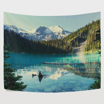 Canada Beautiful Joffre Mountain Lake Tapestry Wall Hanging Green Nature Landscape Wall Decor Art for Living Room Bedroom Dorm