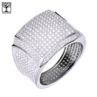 Jewelry Kay style Men's Hip Hop 14k Gold Plated All Around CZ Band  Fully Hand Setting Pinky Ring