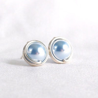 Light Blue Swarovski Pearl Stud Earrings, Hypoallergenic Ear Post, Wire Wrapped Jewelry