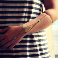 triangle armlet slave bracelet, triangle turquoise armlet, upper arm chain, body chain, unique jewelry