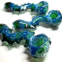 Glass Pipe, Spiked Serpent Inside out Color Changing Glass, Unique, Heady,  READY to SHIP Cgge Team M7