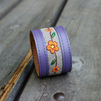 Leather bracelet, cuff bangle adjustable modern leather jewelry stylish unique, gift for her, embroidery design, violet leather