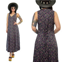 vintage 90s purple ditsy floral maxi dress lace up boho hippie gypsy button up dress medium