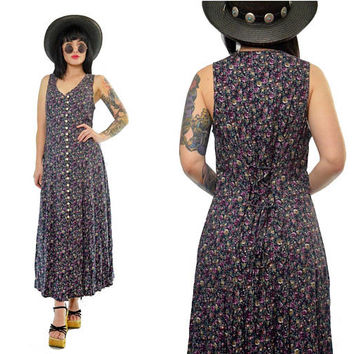 f1b159e3 vintage 90s purple ditsy floral maxi dress lace up boho hippie gypsy button  up dress medium