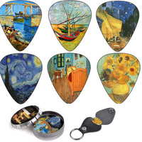 Vincent Van Gogh Guitar Picks, Keychain Pick Holder Best Stocking Stuffer Gifts for Guitar Lover