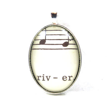 Music Note Pendant with River from Vintage Music Sheet, in Glass Tile Oval