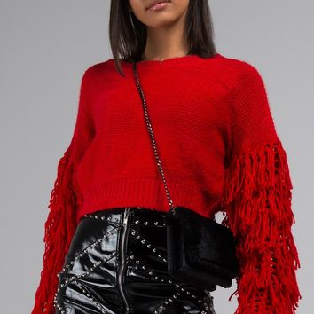 AKIRA Label Yarn Knit Sweater in Red