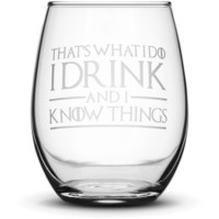 Premium Wine Glass, Game of Thrones, I Drink and I Know Things, 15oz
