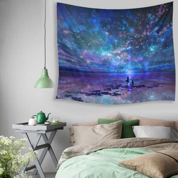 Wall Hanging Colorful Sky Universe Tapestry Indian Mandala Throw Blanket Bedspread Yoga Mat Wall Decoration Textiles Supplies