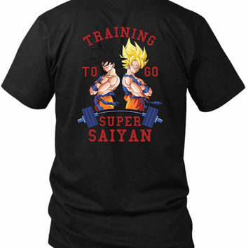 Training To Go Super Saiyan 2 Sided Black Mens T Shirt