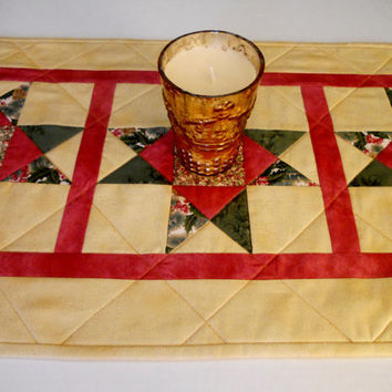 Victorian Christmas Stars Quilted Table Runner Gold and Green Metallic Reverisble