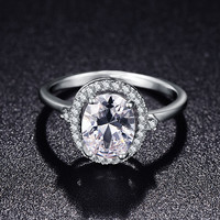 New Brand Wedding Ring 18K Platinum Plated Micro Pave Cubic Zirconia Round Shape Jewelry For Women Accessories CRI0178-B