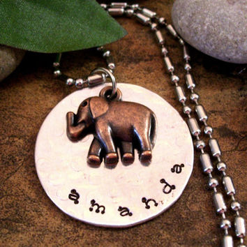 Elephant Jewelry, Personalized Elephant Necklace, Animal Jewelry, Wildlife Jewelry, Charm Jewelry