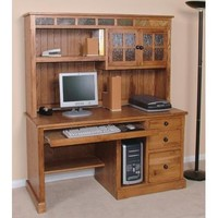 Sunny Designs Sedona Collection Two Piece Desk and Hutch Set In Rustic Oak