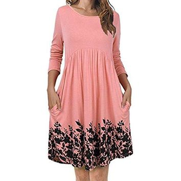 TOOPOOT Wome Summer Dress, Lady Casual Long Sleeve Floral Pleated Swing Dress With Pockets