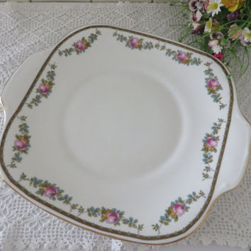 Vintage 1940's cake plate by Crown Staffordshire England