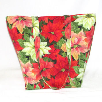 Poinsettia Christmas Tote Bag, Cloth Purse, Handmade Handbag, Fabric Bag, Shoulder Bag, Red, Holiday Purse, Christmas Flower