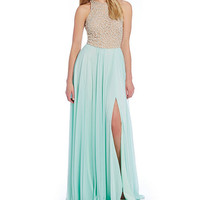 Glamour by Terani Couture Beaded Bodice Long Dress | Dillards