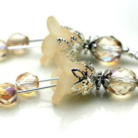 Vintage Style Ivory Lucite Flower and Czech Bead Dangle Charm Drop Set - 2 Pieces