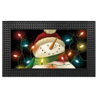 Light-Up 18-Inch x 30-Inch LED Snowman Door Mat