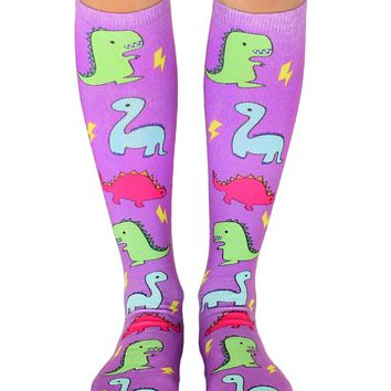 Dino Party Knee High Socks