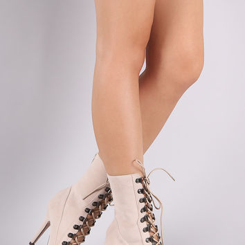 Suede Peep Toe Lace-Up Stiletto Boots