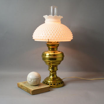 Brass Lantern Lamp, Vintage Brass Lamp, Lamp with Milk Glass Shade, Milk Glass Hobnail Shade, Antique Champion Brass Lamp, Electric Oil Lamp
