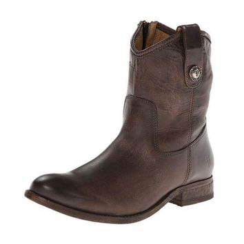 ICIKAB3 Frye Slate Melissa Button Short Leather Boots