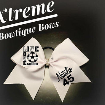 Live Love Soccer Bow with Bling Center Custom Cheer Bows, Personalized for All Occassions