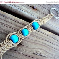 15% off CIJ SALE Hemp Blue Wooden Bead Macrame Keychain