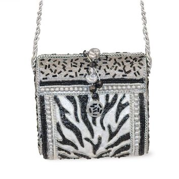 Small Beaded Evening Bag, Zebra Pattern, Faux Pearls, Silver Chain