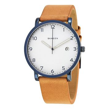 Skagen Hagen White Dial Mens Leather Watch SKW6325