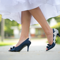 Wedding Shoes  - Navy Blue Bridal Shoes with Ivory Lace Applique. US Size 9