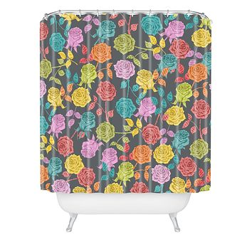 Bianca Green Roses Red Shower Curtain
