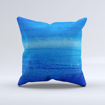 Unbalanced Blue Textile Surface  Ink-Fuzed Decorative Throw Pillow