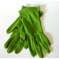 Vintage Lime Green Petite Nylon Fall Gloves