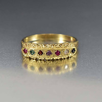 Regards Acrostic English Antique Victorian Gold Ring