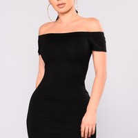 Need Time Off Shoulder Dress - Black