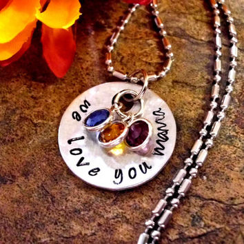 Personalized Jewelry, Mommy Necklace, Mother's Day Jewelry, Hand Stamped Jewelry, We Love You Mama