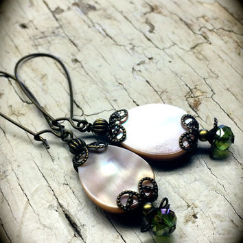 Brass Earrings with Mother of Pearl Beads Beaded Earrings in Brass Dangle Earrings Nickel Free Earrings Ivory Mother of Pearl Glass Beads