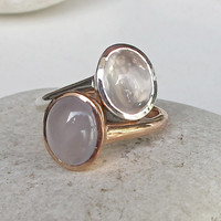 Stack Ring Rose Quartz Ring Quartz Ring Topaz Ring by Belesas