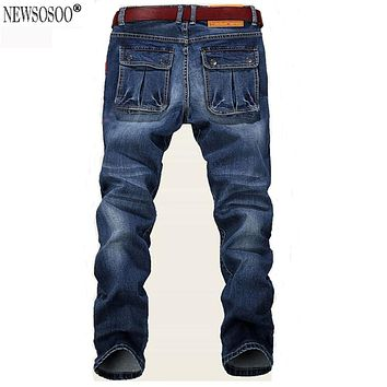 2016 new  Large Plus Size 42 44 46 48 Blue Elastic Men Jeans Slim Fit Straight Denim Pants cheap price Men's Jean Skinny Homme