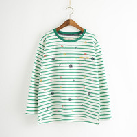 Printed Stripe Long-Sleeve Pullover Shirt