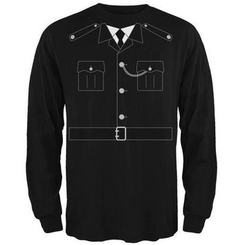 PEAPGQ9 Halloween British Bobby Copper Police Costume Mens Long Sleeve T Shirt