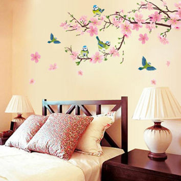 Cherry blossom room bedroom home decorative vinyl stickers Art DIY transparent removable wall stickers posters wallpaper
