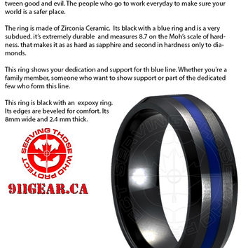 | Thin Blue Line Ring | Rings by 911Rings.com